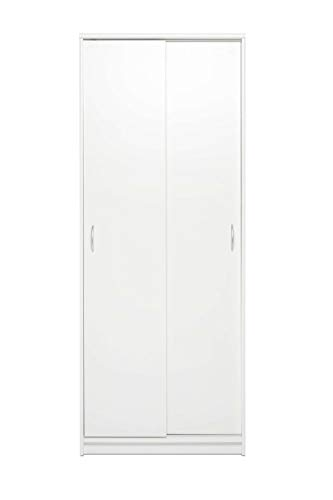 AVANTI TRENDSTORE - Keran - Armadio ad Ante scorrevoli in Legno Laminato, con 4 Ripiani Interni, Disponibile in 2 colorazioni Diverse. Dimensioni Lap 74x188x39 cm (Bianco)