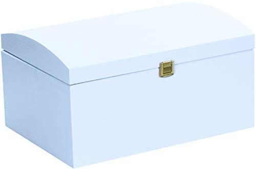 LAUBLUST Große Holztruhe gewölbter Deckel - 35x25x19cm, Blau, FSC® | Allzweck-Kiste aus Holz - Aufbewahrungskiste | Erinnerungsbox | Spielzeug-Truhe | Geschenk-Verpackung | Deko-Kasten zum Basteln (Blau Deckel Kiste,)
