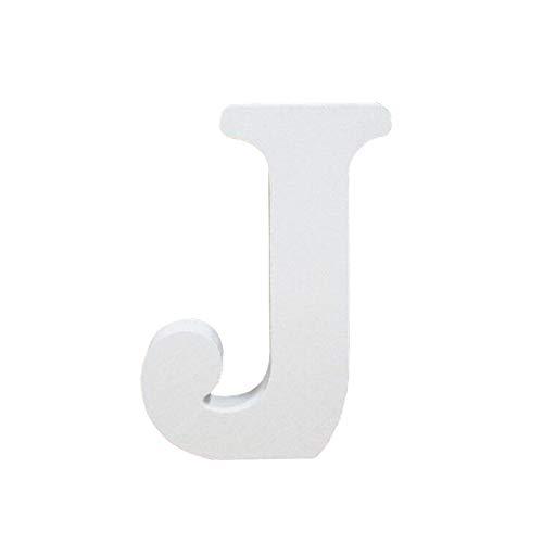 Lettres en Bois, Toifucos 10cm A-Z DIY Alphabet Anglais Ornaments D'artisanat pour Accueil Mariage Anniversaire Décoration de fête Accessoires, Blanc 1 pcs J