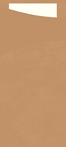 (Duni 165592Sacchetto Besteck Taschen mit gefaltet Tissue Servietten Innen, 8,5cm x 19cm, nature Sacchetto und weiß Serviette (400Stück))