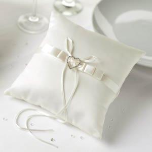 Preisvergleich Produktbild Ringkissen in creme mit Herz in Straßoptik zur Präsentation Ihrer Eheringe