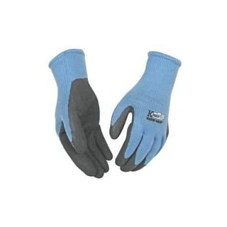 KINCO 1790W-L Women's Warm Grip Thermal Latex Coated Gloves, Large, Blue/Gray