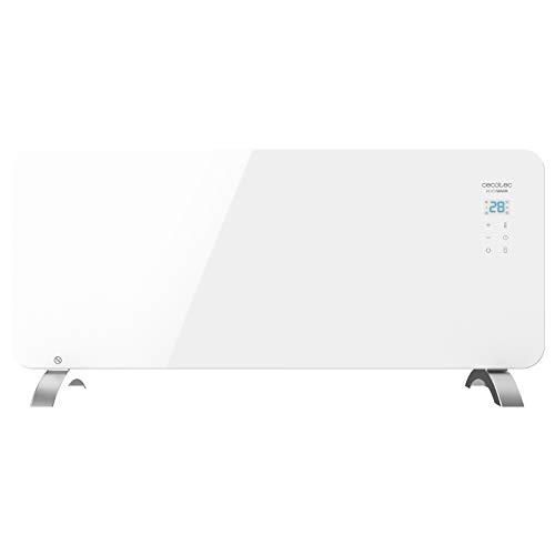 Cecotec Convector de Cristal de 2000 W. Potente. WiFi. Termostato Regulable. Temporizador. con Soporte de pie. Protección sobrecalentamiento. Silencioso. Ready Warm 6750 Crystal Connection