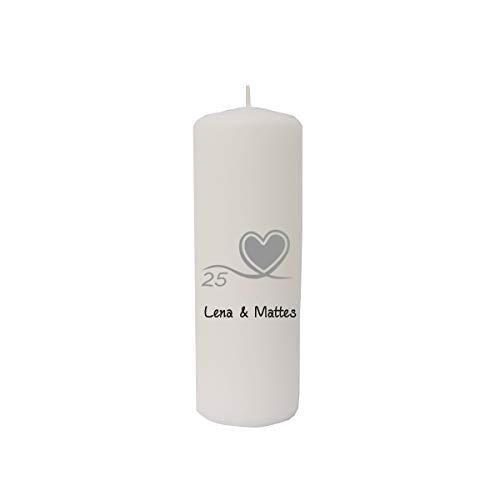 martoli Kerze Silberhochzeit mit Namen Farbe weiß, Größe 200 x 68 mm