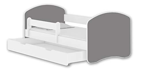 Jugendbett Kinderbett mit einer Schublade mit Rausfallschutz und Matratze Weiß ACMA II 140 160 180 (160x80 cm + Schublade, Weiß - Grau)
