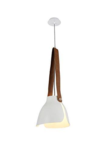 Mantra - Lampara Colgante Swiss Ø38 Centimetros Metal y Cuero, Color Blanco