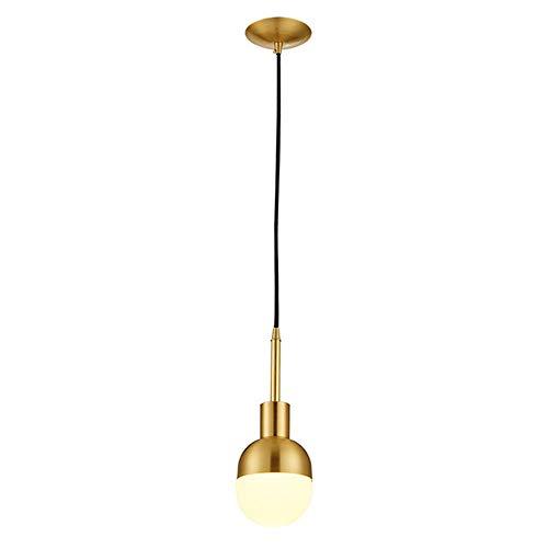 Moderne Minimalistische Mini Messing Kronleuchter 1 Base Sphärische Kuppel Deckenleuchte Runde Glas Lampenschirm Schmiedeeisen Überzug Schlafzimmer Bett E27 Lampenfassung (Kupfer) D13cm * H31cm -
