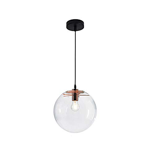 Wings of wind - Moderna sfera di vetro E27 lampadario luce del pendente Droplight trasparente lampada a sospensione (Testa dorata) (25cm)