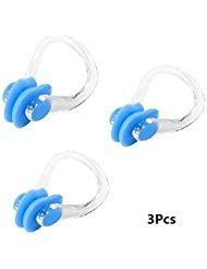 3Pcs PVC-Silikon-Schwimmen-Schwimmen-Nasen-Klipp Clear Blue