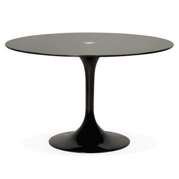 Table Ronde au Design épuré, avec Plateau en Verre Dakota (Noir)