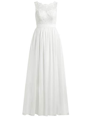 Brautkleider Lang A-Linie Spitze Chiffon Rückenfrei Hochzeitskleider Damen Standesamt Kleid...