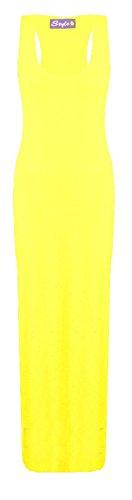 Janisramone Robe d'été femmes maillot muscle racer maxi gilet long taille 8-26 Citron