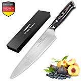 Cuchillo Chef de 20cm, Cuchillos de Cocina con Cuchillo de Damasco, Cuchillo de...