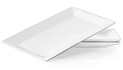 Dowan weiß Porzellan Servierplatte, Salatteller/Dessertteller, Rechteck, 24,6x 13,7cm Set von 4, porzellan, weiß, 35, 6 cm (Halloween Platte Gesunde)
