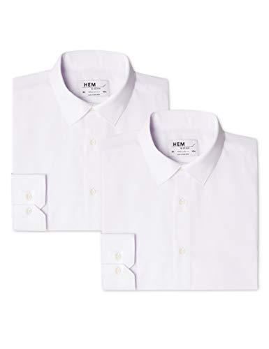 Hem & seam 2 pack regular fit solid, camicia business uomo, weiß (white / white), l(pacco da 2)