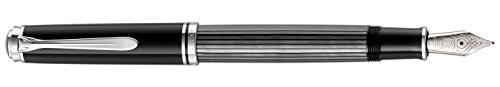 Pelikan 957563 Souverän Stresemann Kolbenfüllhalter M805 in Faltschachtel, Feder B, anthrazit