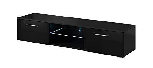 E-com - Meuble TV Armoire Tele Table Television Samuel avec Lumieres LED Bleues - 150 cm - Noir