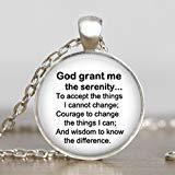 Serenity Prayer collana, gioielli Serenity Prayer, Serenity Prayer nero bianco religioso, gioielli collana di ispirazione