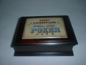 Cherry Grand Champion Poker Two Deck Card Storage Box by BigKitchen