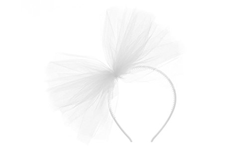 Haarreifen in weiß mit weißer Schleife aus Tüll für Junggesellinnenabschiede, Karneval, Halloweenparty & Parties