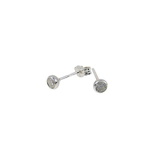 n Ohrringe Echt-Silber Stecker 3,5mm- Sterling Silber Ohrstecker mit Zirkonia Nickelfrei - Silberohrringe 925 klein - Made in Deutschland - Silver Earings for Women - Silver Stud ()