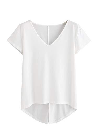 DIDK T-Shirt Damen V- Ausschnitt, Damen Kurzarmshirt Einfarbig Tops Casual Oberteile Asymmetrisch Locker Sommer Shirts Tunika Top Reines T-Shirts Weiß M