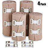Bandage de Compression Elastique (Ensemble de 4) - Bandages de Qualité à Crochets,...