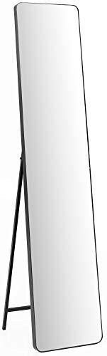 FineBuy Ankleidespiegel FB49659 30x150x36 cm Spiegel mit Rahmen schwarz Standspiegel | Ganzkörperspiegel Flur groß | Design Stehspiegel Garderobenspiegel lang | Ganzkörper Flurspiegel rechteckig