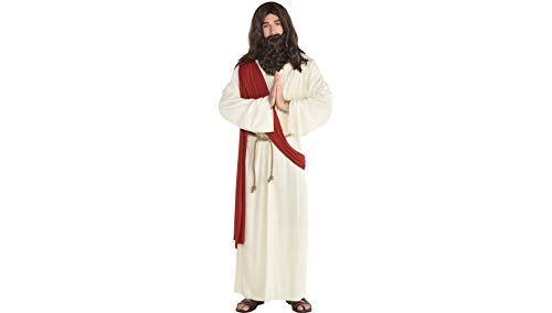 amscan Herren Kostüm Heiliger Gott Jesus Deluxe inkl. Perücke und Bart Gr. M/L - Herren Rock Gott Kostüm