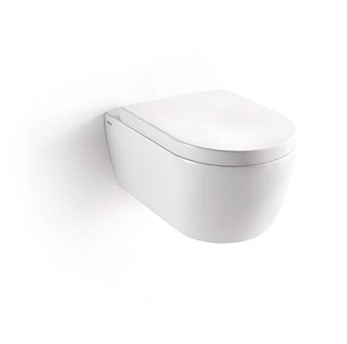 Soho Hänge Wand WC ohne Unterspülrand Toilette Brillant Weiß mit WC-Sitz