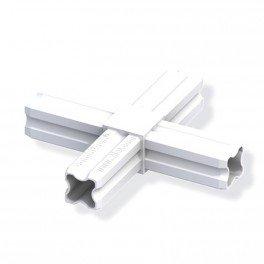 Connecteur en croix blanc 23.5mm 4 embouts pour tube alu et pvc