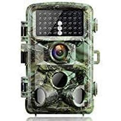 Campark Cámara de Caza 14MP 1080P IP56 Impermeable Trail Cámara con 3 PIR Sensor Gran Angular de 120° IR LED Invisible Visión Nocturna hasta 65ft/20M 2.4 '' LCD Vigilancia de Animales