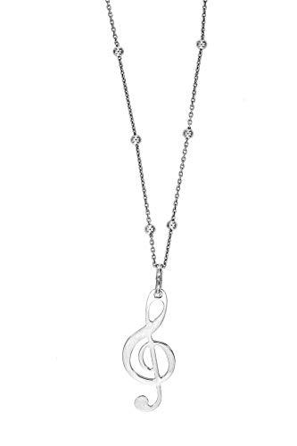 Collana uomo donna ciondolo lastra in argento 925 gufo chiave di violino collane unisex catena (chiave di violino - sfere alternate)