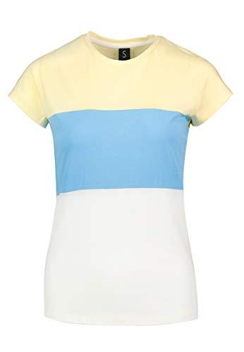 Sublevel Damen Colorblock Rundhals T-Shirt aus Baumwolle Yellow L