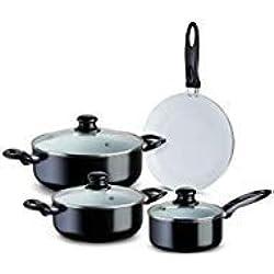 étoile de chef de qualité professionnelle en aluminium anti-adhésif Lot de casseroles et poêles Black 7 Piece