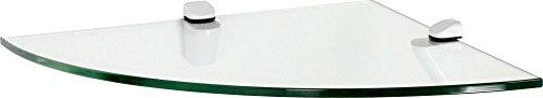 IB-Style - Wandregal - Glasregal   16 Variationen   Eckregal - 250 x 250 x 10 mm satiniert + Halterungen Cucale Weiß - Eck-glasregal Satiniert