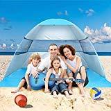 Wilwolfer Tente de Plage Pop Up Sun Abri Plus Cabana Auvent Automatique Abat-Jour Portable Protection UV Coupe-Vent Stable avec Sac de Transport pour l'extérieur, Bleu