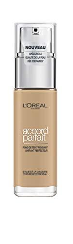 L'Oréal Paris - Fond de Teint Fluide Accord Parfait - Peaux Sèches à Normales - Teinte : Beige Doré (3.D) - 30 ml - Nouvelle formule enrichie en acide hyaluronique et aloé vera