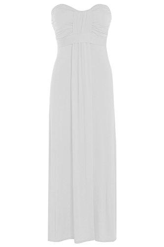 Damen Übergröße Schleife Knoten Trägerloses Bandeau Kleid Maxi Bandeau Kleid, Gr. 16-26 Weiß - Weiß