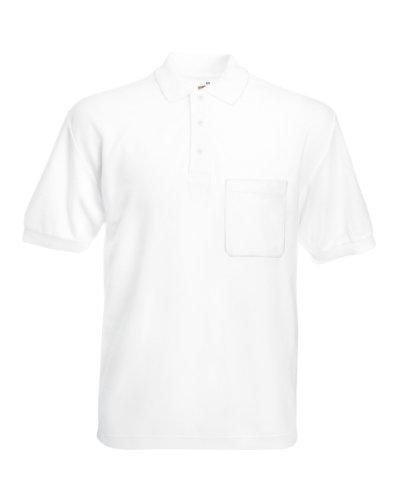 Pocket Polo 65/35 T-Shirt von Fruit of the Loom S M L XL XXL XXL verschiedene Farben L,Weiß L,Wei? (Tasche Weiß Herren)