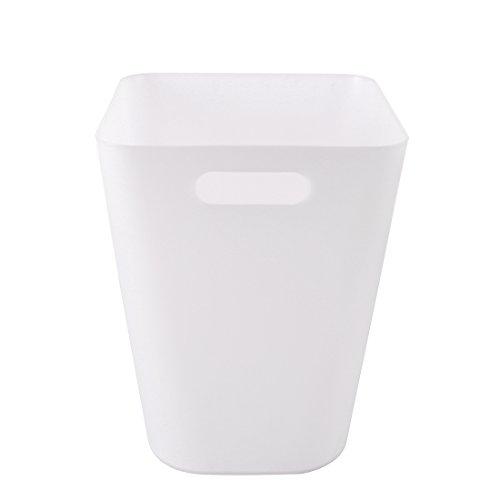 Likecom 16L Tragbar Große Kapazität Tragbare Plastik Mülleimer Haushalts Mülleimer -Matt Weiß