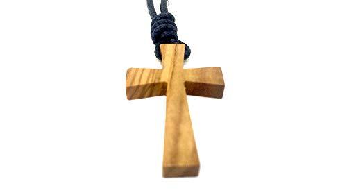 Halskette aus echten Olivenholz mit Kreuz Anhänger 36mm Band geflochten längenverstellbar handgemacht auf Mallorca