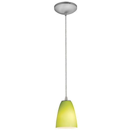 2-3C-BS/LGR Flute LED Cord Pendant with Lime Green Glass Shade, Brushed Steel by Access Lighting ()