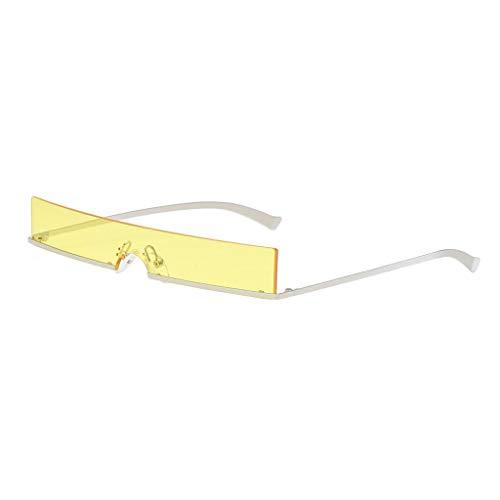 Futuristisches Kostüm Retro - IPOTCH Rahmenlose Sonnenbrille Unisex Quadratische Shades Brille - Gelb