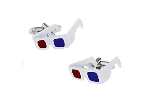 DOLOVE Männer Manschettenknöpfe Hemd 3D Brille Manschettenknöpfe Blau Rot Silber