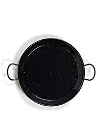 La Valenciana 10 cm, emaillierter Edelstahl Pfanne aus Spanien, Paella Schüssel, Hocker, schwarz, 70 cm