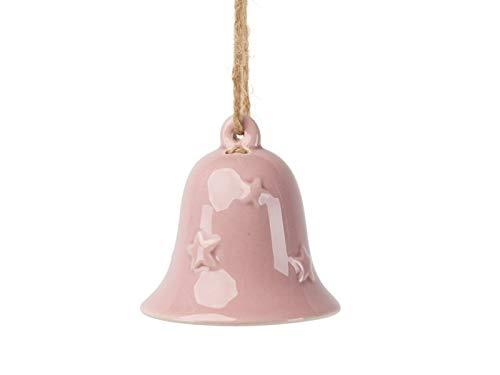 meindekoartikel 2 Deko-Glocken aus Keramik zum hängen rosa/Altrosa – Ø 6,5cm x Höhe 6,5cm