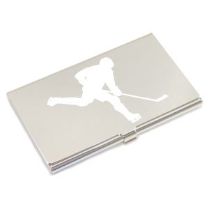 Engraved ICE HOCKEY Silver Plated Business Card Holder, Personalised FREE,