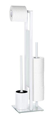 WENKO 21565100 Stand WC-Garnitur Rivalta weiß - WC-Bürstenhalter, Stahl, 18 x 70 x 23 cm, weiß