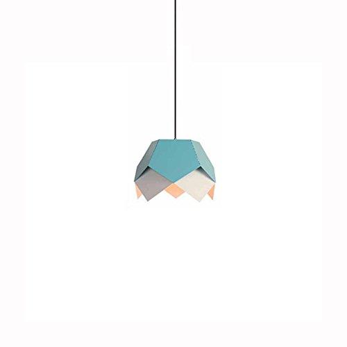 Ganeep Kreative Geometrische Farbe E27 Hängeleuchten Nordic Industrie Pendelleuchten Indoor Esszimmer Schlafzimmer Küche Dekorative Beleuchtung (Color : Blue)